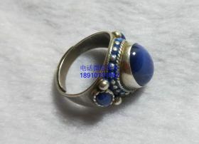 老银镶嵌星光蓝宝石戒指