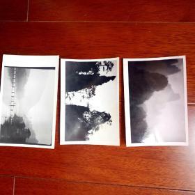 早期约六七十年代著名摄影家原照风景黑白老照片三帧,背有摄影家盖章,名字看不认识。