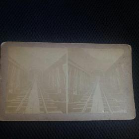清代蛋白立体老照片(钢梁铁路桥)。