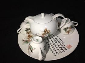 孙悟空三打白骨精 茶壶 茶杯 茶盘 一套六大件 文革瓷器