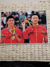 【超珍罕】中国 羽毛球 混双 2016 男双金牌 傅海峰 张楠 签名 12寸照片