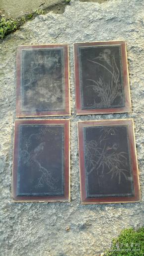 清代花鸟画板4片,33×23厘米