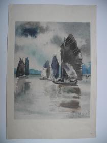 【名家书画】,江苏省美术馆画家/国家一级美术师/吴君琪水彩画《帆船/1980年2月》
