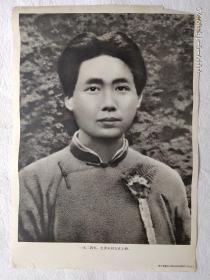 红色收藏宣传画  毛主席像 ,一九二四年,毛泽东同志在上海