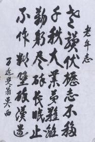 开国少将、著名少数民族将领 吴西 书法作品《老年志》 一件(纸本软片,约2.7平尺)  HXTX101452