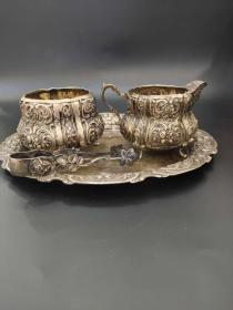 西洋 欧洲古董 餐具 银器 800银 壶罐夹子盘子一套 498克