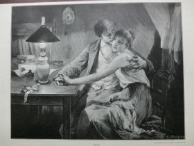 【现货 包邮】1890年木刻版画《恋人》(Mit zwanzig Jahren) 尺寸约41*29厘米  (货号 600574)