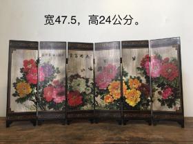 木质,小屏风一个,【花开富贵】画工精细,品相如图,摆设佳品!