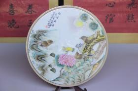 手绘花鸟瓷板画摆件,尺寸27*1.0*27厘米,细节图如下