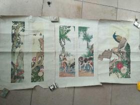 1957年刘奎龄作马牛,孔雀,啄木鸟52.5*38cm