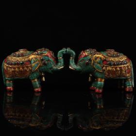 尼泊尔收老纯铜纯手工打造镶嵌宝石彩绘描金吉祥如意大象一对       一对重3034克    高11厘米   宽17厘米