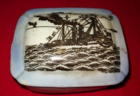 特价民国印花大轮船图肥皂盒一个包老怀旧少见品种