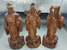 福禄寿三星黄杨木雕 收藏文玩摆件