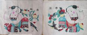 精美白绵纸版画!!清代版80年代印潍县杨家埠木版年画社出品*香元寿桃一对