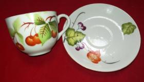 特价民国手绘五彩花卉海棠图碟子杯子2个共138元包老全品