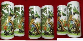 特价民国印花精美漂亮孔雀松树松孔雀鲜美图帽筒2个包老少见品种