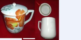 特价民国手绘金鱼海藻图茶杯包老少见品种