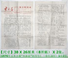 """《1976年文革小报""""育新苗""""创刊号》(套红油印)1份2张.【尺寸】38 X 26厘米(8开纸) X 2张。"""