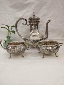 西洋 欧洲古董 餐具 银器 830银 壶罐一套 G.BERG 1917年 980克