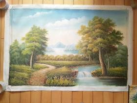 油彩布面纯手绘大尺幅风景画一幅