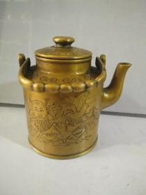 铜器古玩杂项纯铜小水壶可实用的纯铜小水壶复古精品纯铜实物