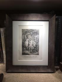 欧洲铜版画 凹版 圣经故事 亚当与夏娃 约为十八世纪 (含框)外框尺寸:25×30cm