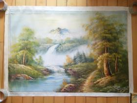油彩画布纯手绘大尺幅风景画一幅