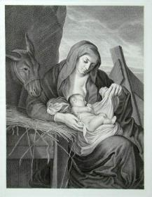 """""""凡·戴克 van Dyck""""名画1888年意大利艺术珍品系列《在马槽旁》—英国宫廷画家 """"安东尼奥·凡·戴克Anthony van Dyck,(1599—1641)""""作品"""