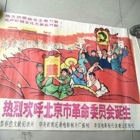 老宣传画  热烈欢呼北京市革命委员会诞生