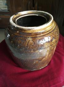 古铜色茶叶水色老旧瓷釉罐一个,保真包老