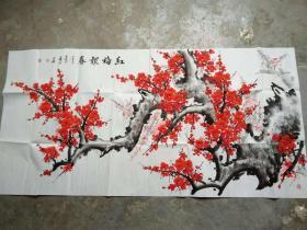 国家一级美术师书画国礼艺术家张利国画:红梅报春
