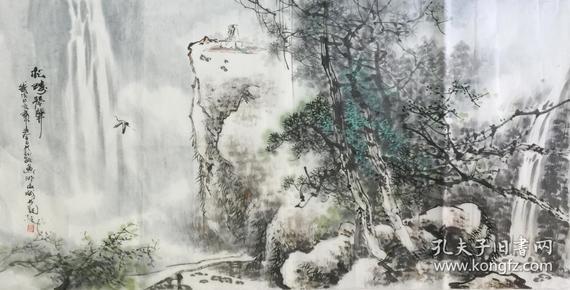 ?【保真】。【蒋敏】广西美协会员、实力派画家、中国工艺美术学会国画研究会会员、手绘四尺整张山水(138*69CM).