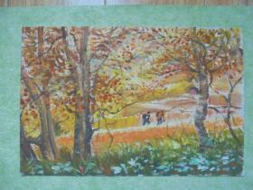 名家手绘油画《金秋时节》