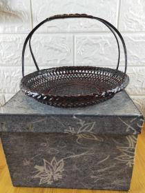 日本漆器篮子 篮胎 置物篮 插花篮 盒装  径18x18Cm高12Cm