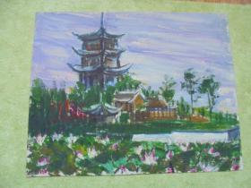 名家手绘油画,《金山寺》