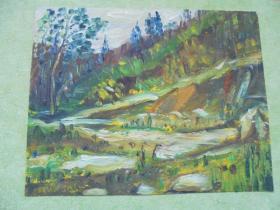 名家手绘油画《崖畔》