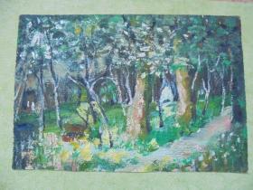 名家手绘油画《林间小景》