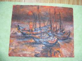 名家手绘油画《渔归》