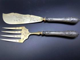 西洋 欧洲古董 餐具 刀叉一副 有刻花 柄800银