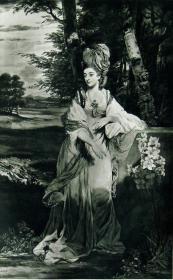 """""""雷诺兹Reynolds""""名画1902年""""英国美柔汀铜版画参展作品系列""""《巴姆莱德夫人》—英国皇家学院院长""""乔舒亚·雷诺兹爵士(Sir Joshua Reynolds, 1723-1792)""""作品 T.WATSON雕刻 40x31cm 高档美柔汀铜版画"""