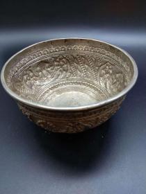 西洋 欧洲古董 餐具 银碗 有刻花 190克 手工制作