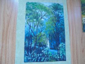 名家手绘油画《幽静的山林》