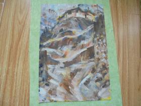名家手绘油画《石山村》