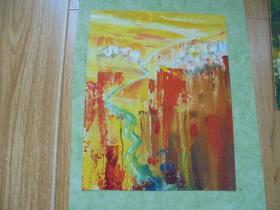 名家手绘油画《夕阳》