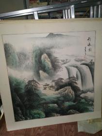 飞瀑图 国画作品 江夕之印