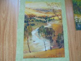 名家手绘油画《溪水慢慢流》