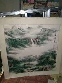 雪岭飞泉 国画作品 江夕之印