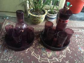 七八十年代中国工艺茶具婚庆用品老式玻璃茶水杯套装 包老 标价是单套价格 左边款已出