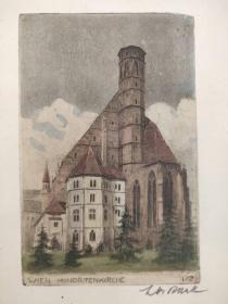 西洋 欧洲 水彩画 印刷 515 19x25 8x12cm 维也纳方济住院会教堂