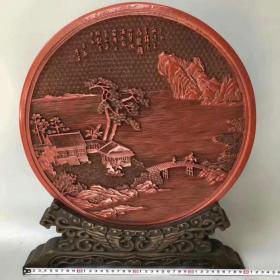 剔红漆器山水人物故事圆盘屏风摆件2140克jgvm